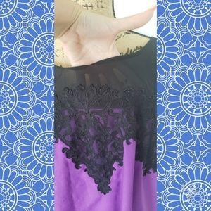 Lane Bryant Tops - Lane Bryant top sheer purple black lace 26/28